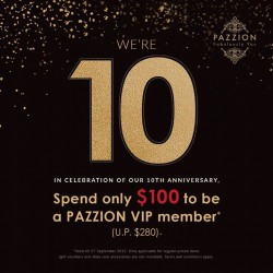 PAZZION: Spend Only $100 to be a PAZION VIP Member (U.P. $280) --- 10TH Anniversary