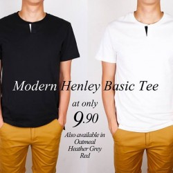 Moley Apparels: Modern Henley Basic Tee @ 9.90