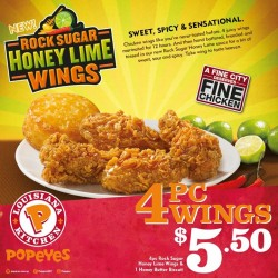 Popeyes: 4 Pcs Rock Sugar Honey lime Wings & 1 Honey Butter Biscuit @$5.50