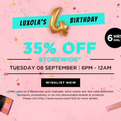 Luxola: 4th Birthday Sale 35% off Storewide!