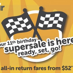 Tigerair: 11th Birthday Supersale from $52 all-in return fares