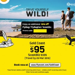 FlyScoot: Fly to Gold Coast from $95 and get additional 10% OFF