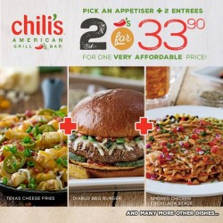 Chili's: Value Meals--Pick Appetiser + 2 Entrees @2 for 33.90