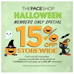 THEFACESHOP: Trick or Treat for Members @15% OFF.