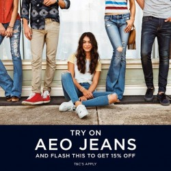 American Eagle Outfitters: 15% OFF AEO Jeans