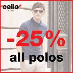 Celio: Polos From mandarin collars to prints or even plain polos @25% OFF.