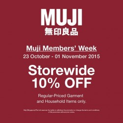 MUJI: 10% OFF Regular Priced Garment and Household Items