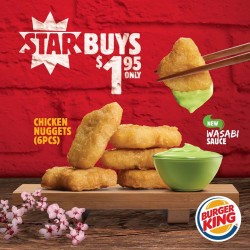 Burger King: Chicken Nuggets (6pcs) with new Wasabi Sauce