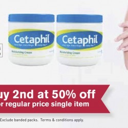 Cetaphil: Buy 2nd item at 50% OFF at Guardian