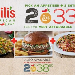 Chili's: Pick an Appetiser plus 2 Entrees