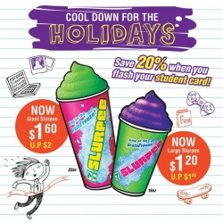 7-Eleven: Slurpees this School Holidays @20% OFF.