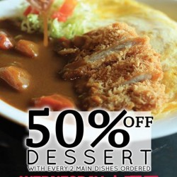 Dolce Tokyo: Dessert Every 2 Main Dishes Ordered @50% OFF.