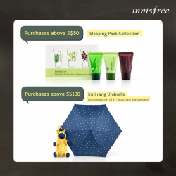 Innisfree: Sleeping Pack Collection & Inni Rang Umbrella