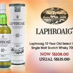 The Oaks Cellars: Laphroaig 10 Year Old Select Cask Single Malt Scotch Whisky 700ml @S$108.00 (Usual: S$135.00).