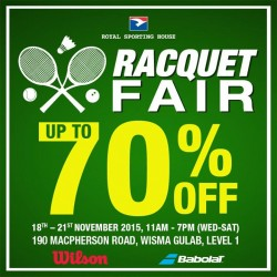 Royal Sporting House: Racquet Fair @Save 70% OFF Badminton, Tennis, and Squash merchandize