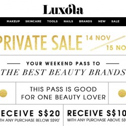 Luxola Private Sale: Receive up to S$100 voucher for your next purchase