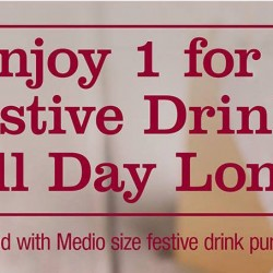 Costa Coffee: 1-for-1 Medio Size Festive Drinks
