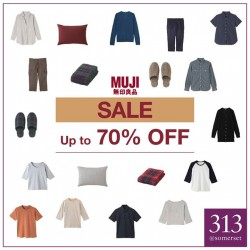 Muji: Up to 70% OFF for selected Garment & Household Items in-store.