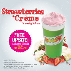 FREE UPSIZE for Strawberries & Creme__When You Present E-voucher Today.