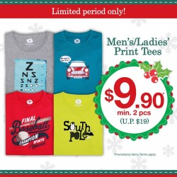 Bossini Be Happy: Men's/ Ladies' Print Tees @$9.90 min. 2 pcs