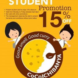 Cocoichibanya : Take 15% OFF Present your Student Card