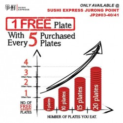 Sushi Express: 1 Free Plate with Every 5 Purchase Plates