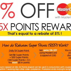 Rakuten: Extra 5% OFF with MasterCard + 5X Points Reward