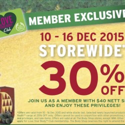 The Body Shop: 30% OFF Storewide / $20 Voucher with $100 nett spend