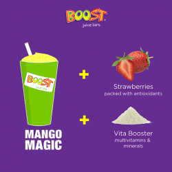 Boost Juice Bars: Mango Magic with Additional Strawberries and Vita Booster