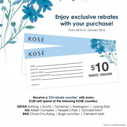 KOSÉ: $10 Rebate Voucher with every $120 nett