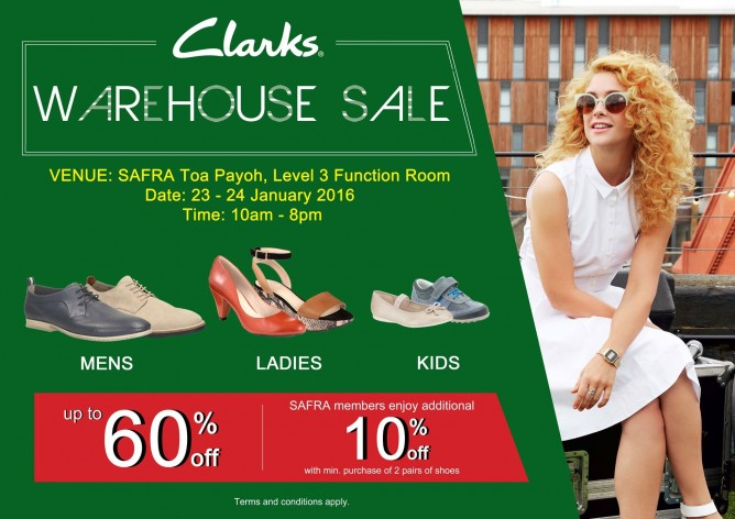 Clarks: Warehouse Sale Up to 60% OFF + Additional 10% OFF for Safra Members