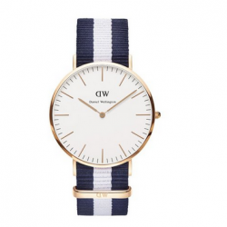 Amazon: Daniel Wellington Men's 0104DW Classic Glasgow Rose Gold-Tone Stainless Steel Watch With Stripe Nylon Band