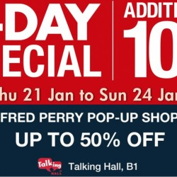 Takashimaya: Additional 10% OFF for Members & Fred Perry Up to 50% OFF
