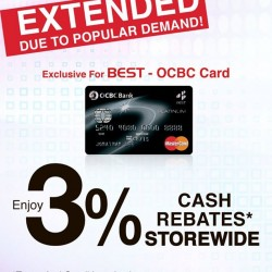 Best Denki: 3% Cash Rebates Storewide for BEST-OCBC Card