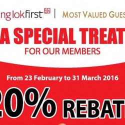 Tung Lok Group: 20% Rebate for TungLokFirst and Most Valued Guest members