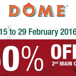 Dome Cafe: 50% OFF 2nd Main Course for Weekday Dinner