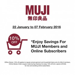 Muji: Take 10% OFF promotion exclusive to MUJI Members and Online Subscribers