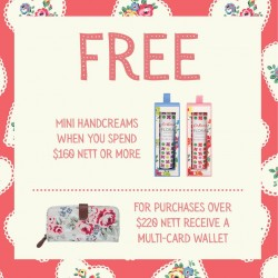 Cath Kidson: Free Mini Handcreams with above $160 nett spend