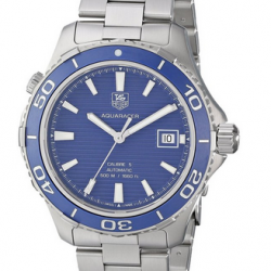 Amazon: TAG Heuer Men's WAK2111.BA0830 Aquaracer 500 Analog Display Swiss Automatic Silver Watch