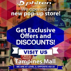 Phiten: Buy 2 Items @10% OFF and Get a Phiten $8 Voucher at Tampines Mall