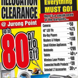 Harvey Norman: Clearance Sale at Jurong Point up to 80% OFF