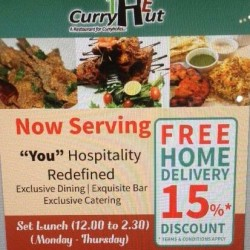 The Curry Hut Via Foodpanda: Place order of min $40 and get 15% OFF