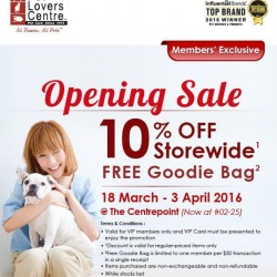 Pet Lovers Centre Singapore: PLC Centrepoint relocation sale --- Enjoy 10% OFF and FREE Goodie Bag