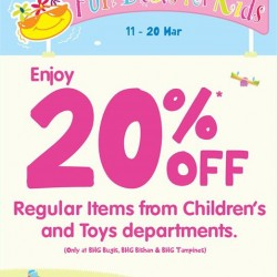 BHG Singapore: School Holiday Promotion --- 20%* off regular-priced items from Children's & Toys department