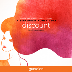 Guardian: International Women's Day Promotion --- up to $55 OFF when you shop on e-store