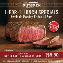 Outback Steakhouse: 1-FOR-1 Lunch Special Promotion