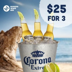 BWB Burgers, Wings, Bar:  Corona Beer Promotion --- 3 at $25 from 9pm to late daily