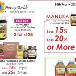 Honeyworld: Honey Promotion --- Manuka, Watson & Son, Royalbee and more at up to 30% OFF