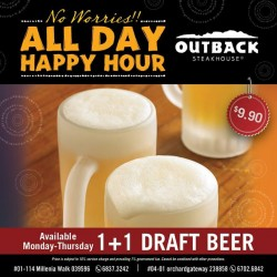 Outback Steakhouse: Happy Hour 1-for-1 beer All Day on Thursday!