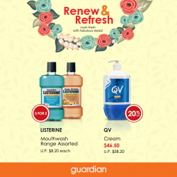 Guardian: latest offers on Listerine and QV products --- Up to 33% OFF in store and online